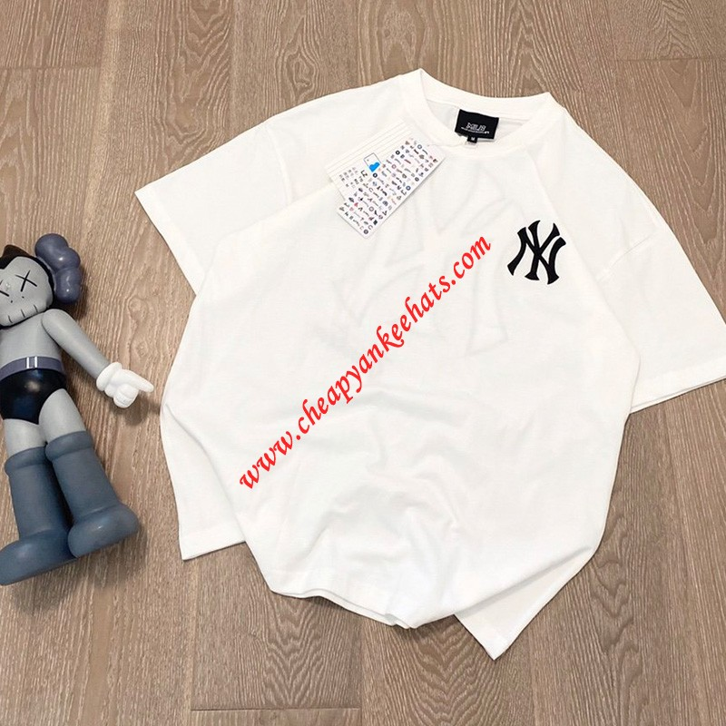MLB NY Back Big Logo Short Sleeve T-shirt New York Yankees White