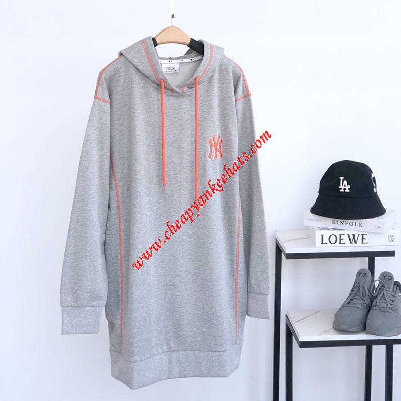 MLB NY Contrast Stitch Hoodie Dress New York Yankees Grey