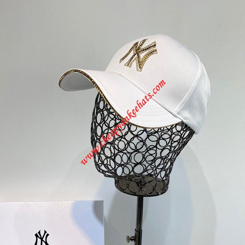 MLB NY Crystal Logo Adjustable Cap New York Yankees Hat White