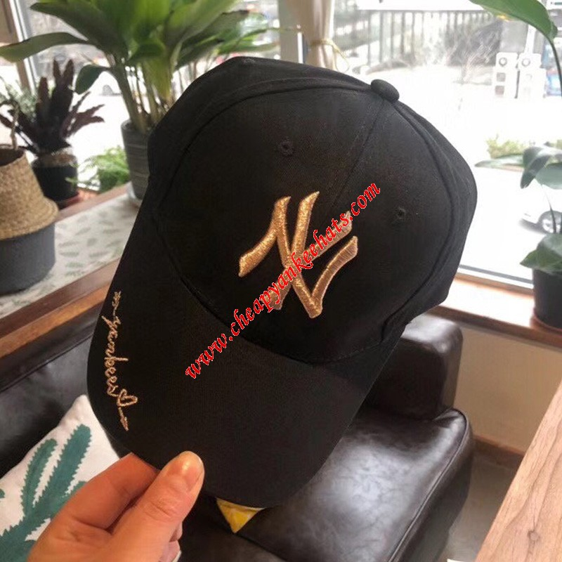 MLB NY Embroidery Logo Adjustable Cap New York Yankees Hat Black