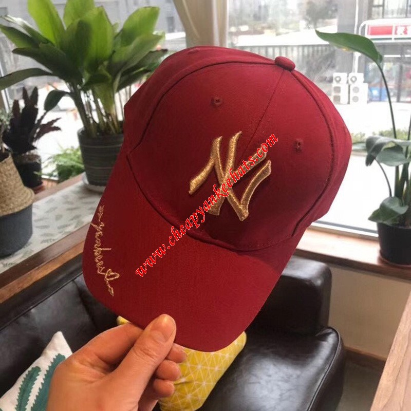 MLB NY Embroidery Logo Adjustable Cap New York Yankees Hat Red