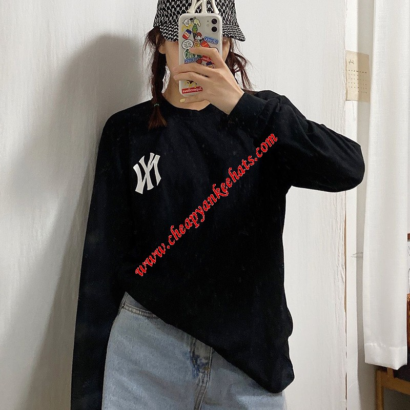 MLB NY Embroidery Logo Long Sleeve T-shirt New York Yankees Black