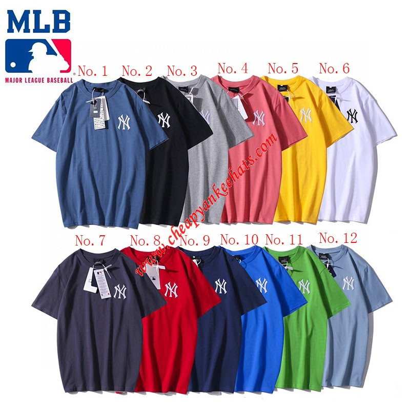 MLB NY Embroidery Printing Short Sleeve T-shirt New York Yankees