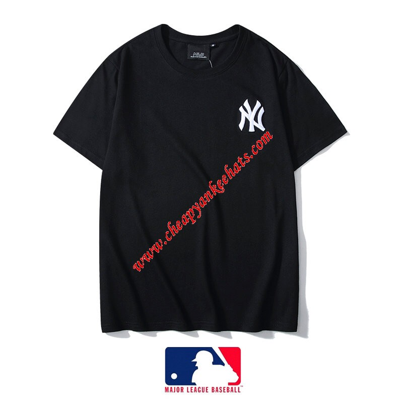 MLB NY Embroidery Logo Short Sleeve T-shirt New York Yankees Black