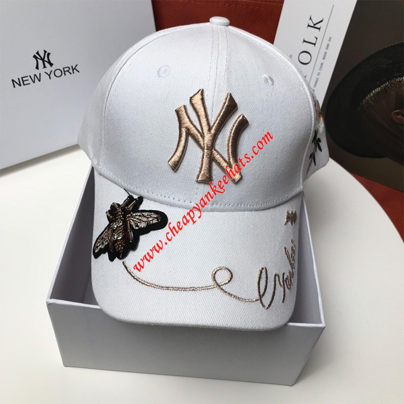 MLB NY Gold Bee Adjustable Cap New York Yankees Hat White