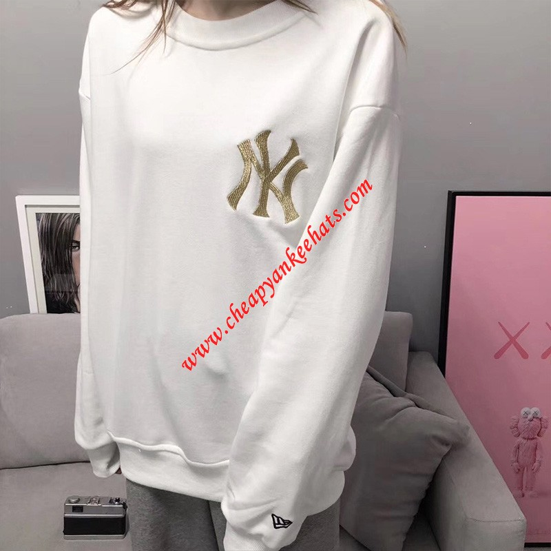 MLB NY Gold Logo Sweatshirt New York Yankees White
