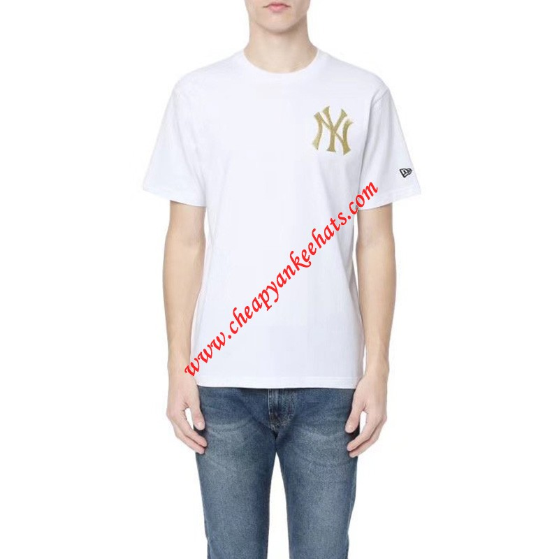 MLB NY Gold Embroidery Logo Short Sleeve T-shirt New York Yankees White