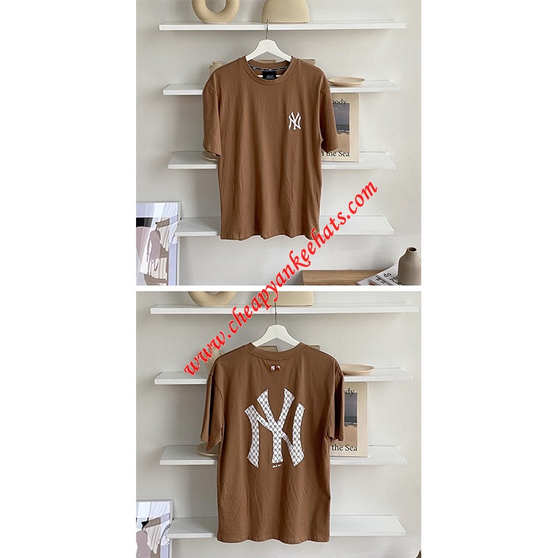 MLB NY Monogram Big Logo Short Sleeve T-shirt New York Yankees Apricot
