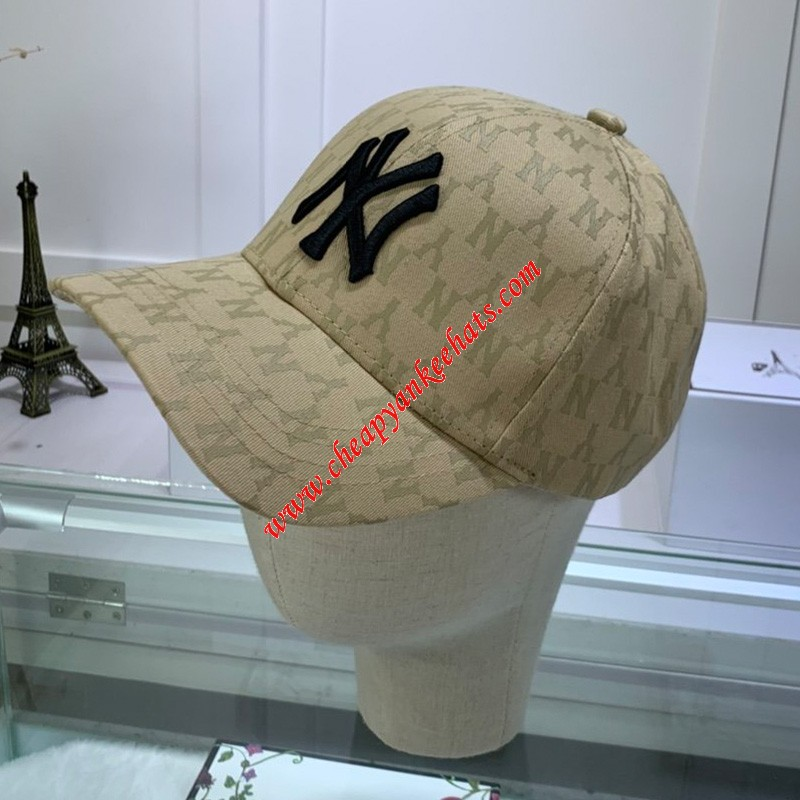 MLB NY Monogram Cap New York Yankees Hat Khaki