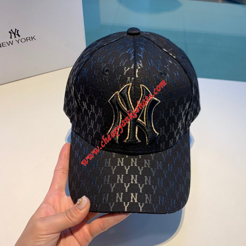 MLB NY Monogram Logo Adjustable Cap New York Yankees Hat Black