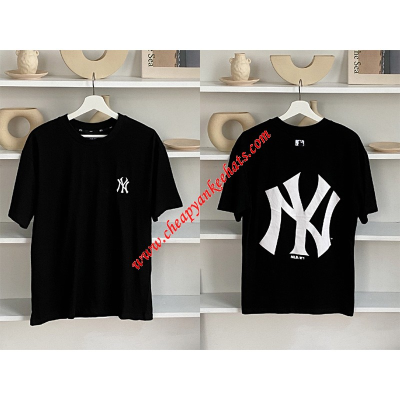 MLB NY Popcorn Big Logo Short Sleeve T-shirt New York Yankees Black