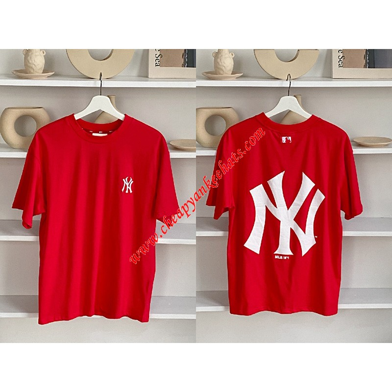 MLB NY Popcorn Big Logo Short Sleeve T-shirt New York Yankees Red