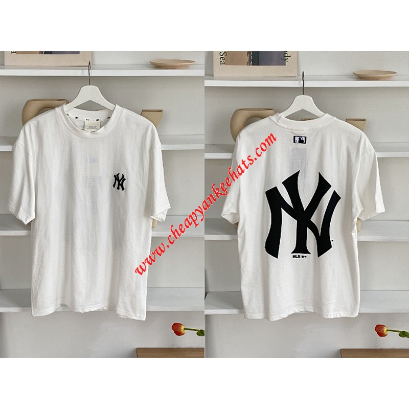 MLB NY Popcorn Big Logo Short Sleeve T-shirt New York Yankees White