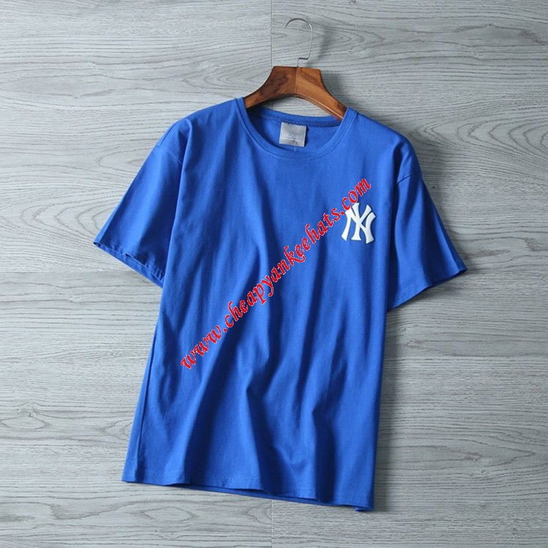 MLB NY Popcorn 21 Short Sleeve T-shirt New York Yankees Blue
