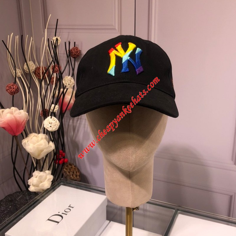MLB NY Rainbow Ball Cap New York Yankees Hat Black