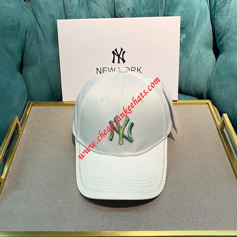 MLB NY Shiny Embroidery Logo Adjustable Cap New York Yankees Hat White