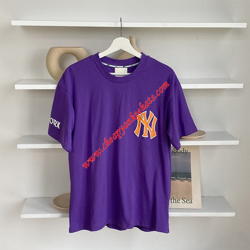 MLB NY Sleeve Symbol Short Sleeve T-shirt New York Yankees Purple