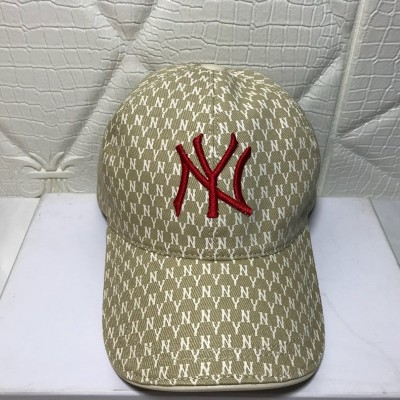 MLB NY Monogram Logo Cap New York Yankees Hat Beige