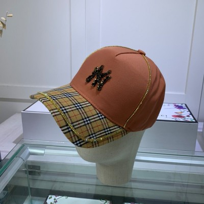 MLB NY Check Adjustable Cap New York Yankees Hat Brown
