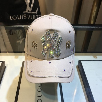 MLB NY Crystal Embellished Adjustable Cap New York Yankees Hat Beige