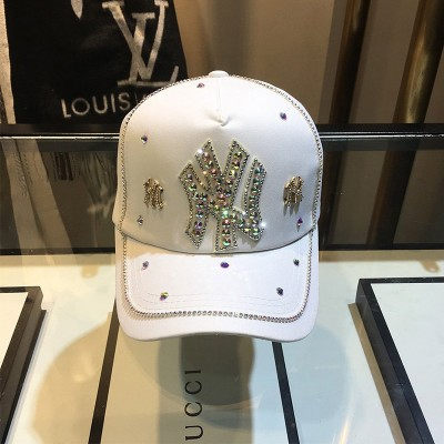 MLB NY Crystal Embellished Adjustable Cap New York Yankees Hat White