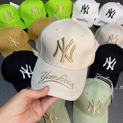 MLB NY Galligraphy Adjustable Cap New York Yankees Hat Beige