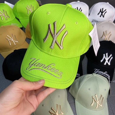 MLB NY Galligraphy Adjustable Cap New York Yankees Hat Fluorescent Green