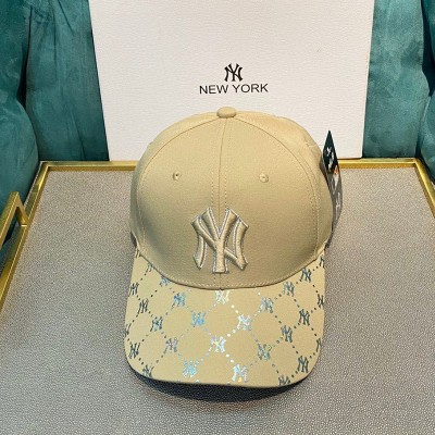 MLB NY Holomonogram Logo Adjustable Cap New York Yankees Hat Khaki