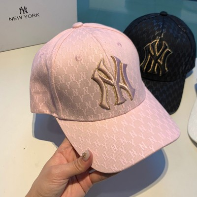 MLB NY Monogram Logo Adjustable Cap New York Yankees Hat Pink