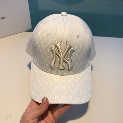 MLB NY Monogram Logo Adjustable Cap New York Yankees Hat White