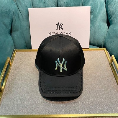 MLB NY Shiny Embroidery Logo Adjustable Cap New York Yankees Hat Black