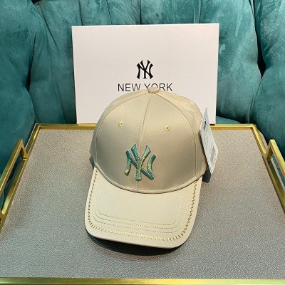 MLB NY Shiny Embroidery Logo Adjustable Cap New York Yankees Hat Khaki