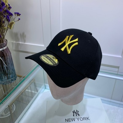MLB NY Sticker Adjustable Cap New York Yankees Hat Black/Yellow