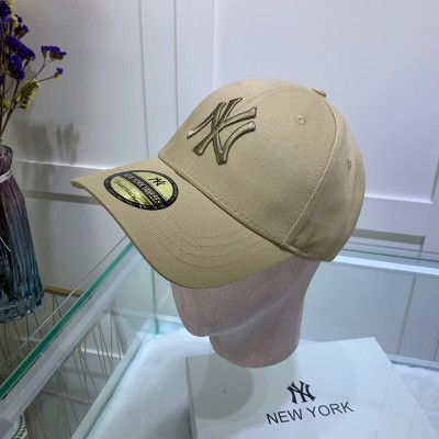 MLB NY Sticker Adjustable Cap New York Yankees Hat Khaki