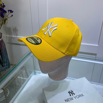 MLB NY Sticker Adjustable Cap New York Yankees Hat Yellow/White