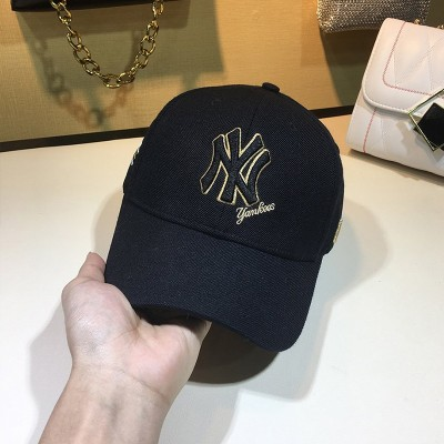 MLB NY Team Logo Embroidery Adjustable Cap New York Yankees Hat Black