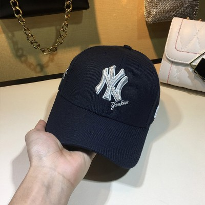 MLB NY Team Logo Embroidery Adjustable Cap New York Yankees Hat Navy Blue