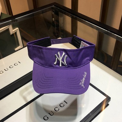 MLB NY Embroidery Logo Visor New York Yankees Hat Purple