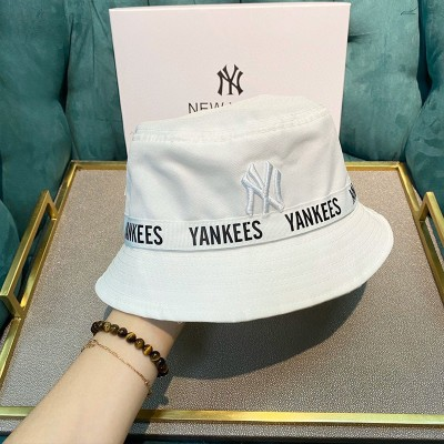 MLB NY Webbing Detail Street Bucket Hat New York Yankees Hat White